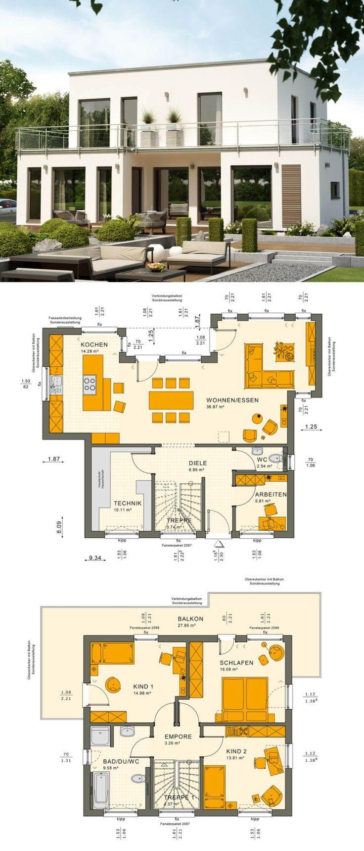 Bauhaus Stadtvilla Modern Neubau Mit Flachdach Architektur Im Bauhausstil    Einfamilienhaus Bauen Grundriss Ideen Fertighaus Sunshine 125 V7 Von Living  Haus ...