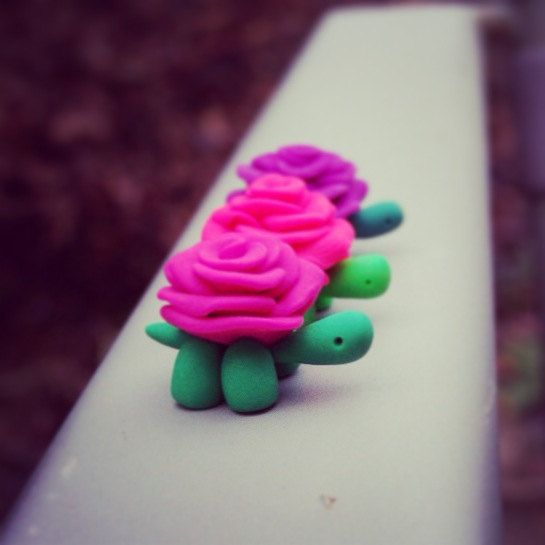 Turtle Blossoms Set of 3 Polymer Clay Sculpture by sarahbellumshop, $34.49