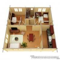 Bungalow de madera TIPO 49m2 - Casas de Madera y bungalows en Tarragona   Diseños a medida
