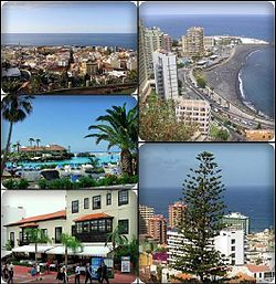 """Puerto de la Cruz is a city and municipality in the northern part of the island of Tenerife, Canary Islands, Spain. It was formerly known by its English translation, """"Port of the Cross"""", although now it is known in all languages by its Spanish name. It is located on the north coast, 4 km (2 mi) northwest of La Orotava, and 30 km (19 mi) west of Santa Cruz de Tenerife. The TF-5 motorway passes through the municipality. In Spanish the inhabitants are known as Portuenses."""