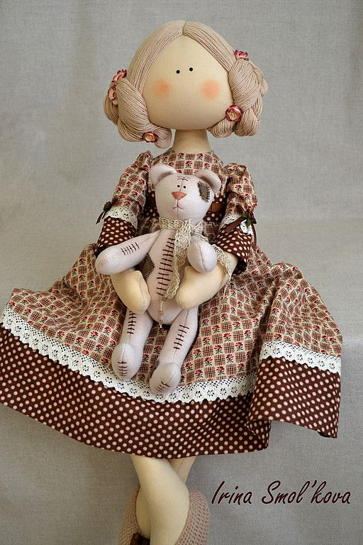 29.07.2012 Textile Doll. The work of the day: Doll Sonia Sonia Textile interior doll with a touching bear.