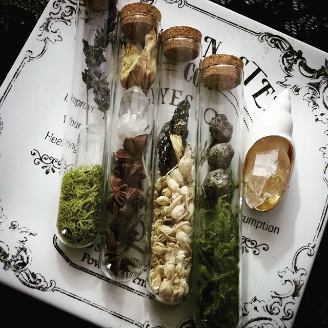 Make ethereal magic bottles, w moss, seeds, shells, crystals, cloves, dried flowers