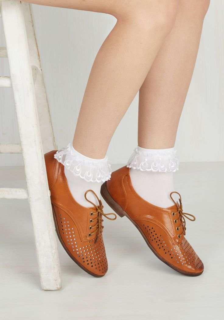 Just You and Eyelet Socks in White. Just like you and your bestie, these white bobby socks are quite the stylish pair! #modcloth