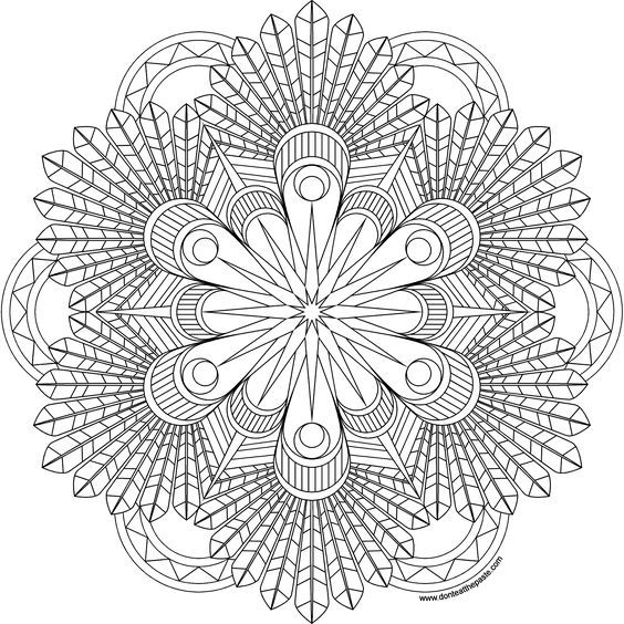 Feathers mandala coloring page- available in jpg and a larger transparent png version- click through