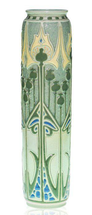 Della Robbia Poppy Vase by Roseville Pottery. I love the Art Deco design on this old vase.