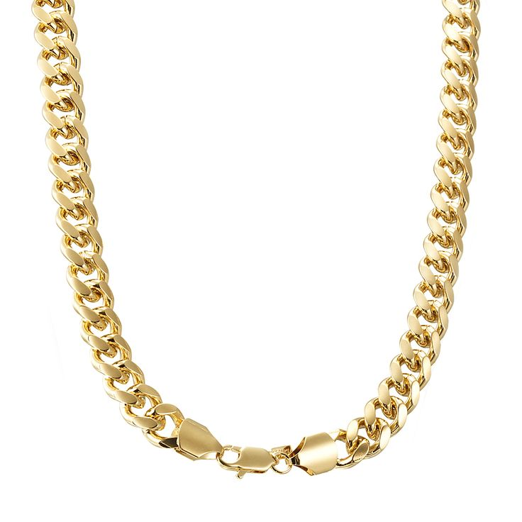 18ct Yellow Gold Layered Chunky Curb Chain Necklace with Lobster Clasp | Allure Gold