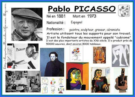 Pour ma classe , j'ai choisi de travailler sur les oeuvres de Picasso. Tout d'abord parce que j'adore le travail de Picasso et puis parce qu'il offre la possibilité de travailler différents supports et différents thèmes. Quand je travaille en classe sur...