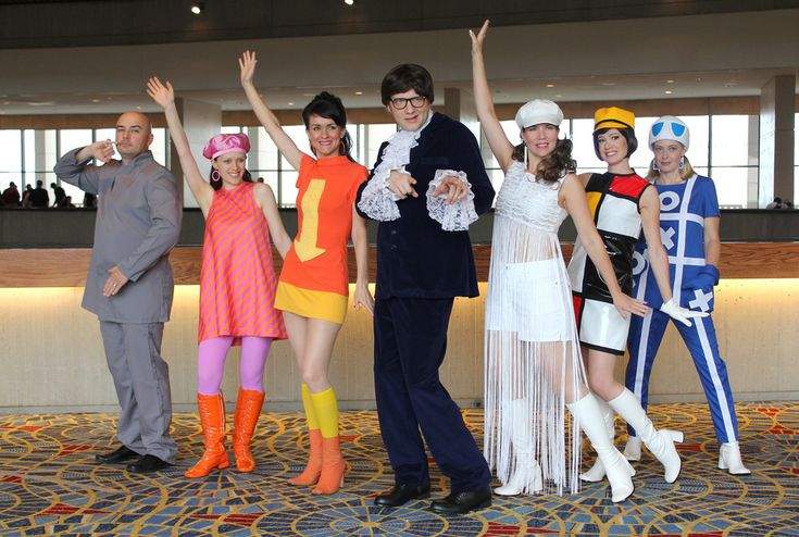 A group in Austin Powers costumes. Groovy!
