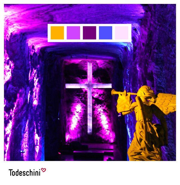 La catedral de Sal de Zipaquirá, es sin duda un reflejo de la majestuosidad de nuestro país. Sus colores cautivan miradas y son fuente de inspiración para nuevas creaciones. ¿Con cuál color te identificas?  #Diseñodeinteriores #Decoración #Todeschini #ambientes #mueblesamedida #arquitectura #colombia