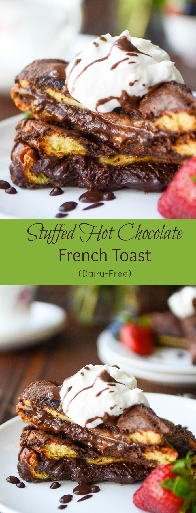 STUFFED with decadent chocolate ganache and coconut cream, this BEST French Toast recipe is sure to become your best breakfast recipe or dessert. #frenchtoastrecipe #breakfastrecipe
