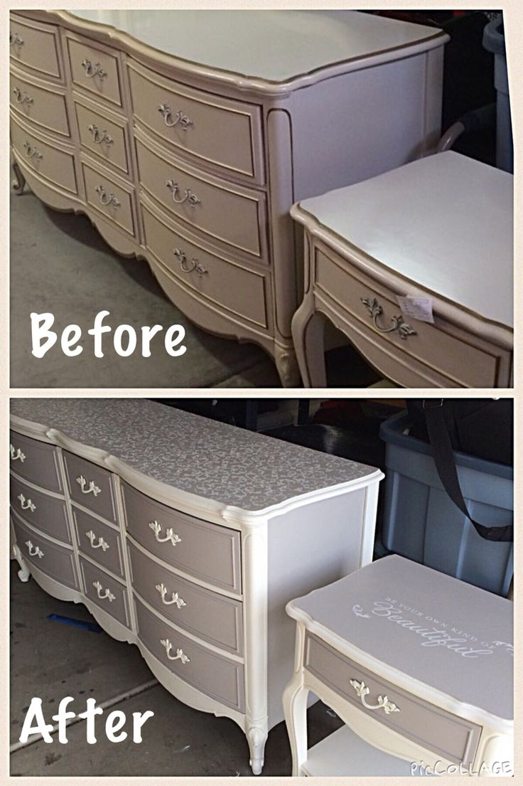 DIY - Chalk Paint - Vintage furniture - French provincial Dresser and Night stand