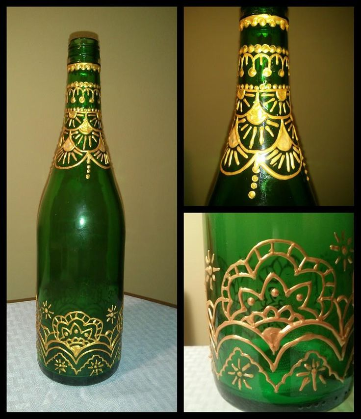 Moroccan Mystique Upcycled Green Bottle With Moroccan Detailing In Gold Hand Painted