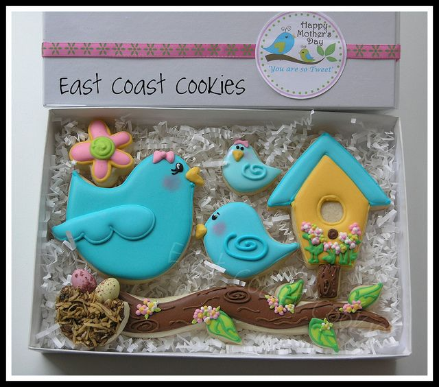 'Mom, You're so Tweet' cookie gift box    Mother's Day collection 2011.  It's been so busy around here that I debated even doing Mother's Day cookies but I've been wanting to do blue birds for over a year now. So when I saw Callye's Spring bird nest cookies sweetsugarbelle.blogspot.com/2011/04/spring-bird-nest-coo...   I like the sticker on the box!