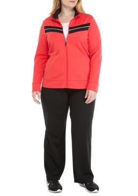 Kim Rogers Women's Plus Size Chevron Inset Zip Front Jacket - Coral/Blk - 2X