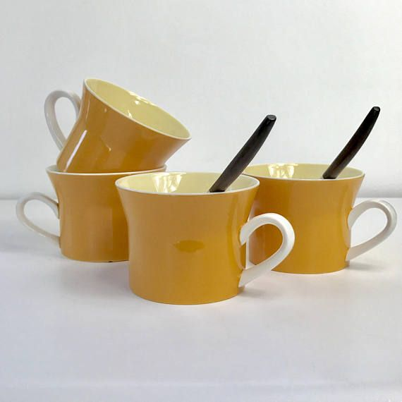 Vintage Mikasa Orange Coffee Mugs Coffee Cups Retro Mugs