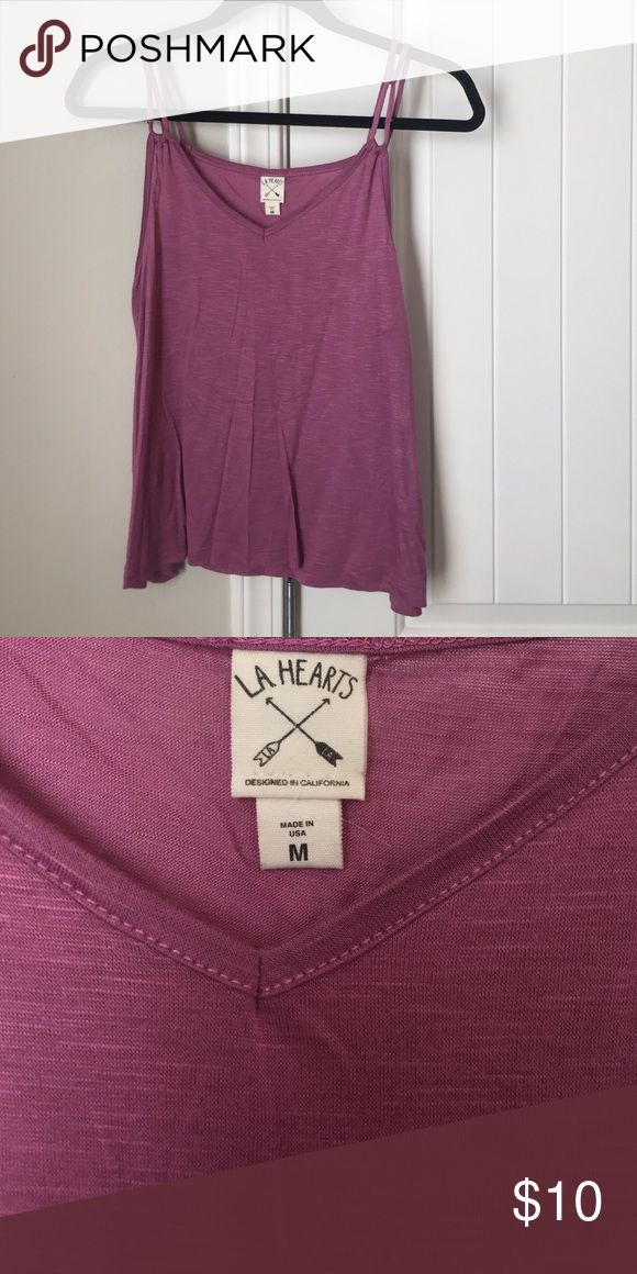 Mauve pink strappy top LA Hearts (Pac Sun) top. Size Medium but fits in between a Small and Medium. Only worn once. Comes from a nonsmoking no pet home PacSun Tops Tank Tops