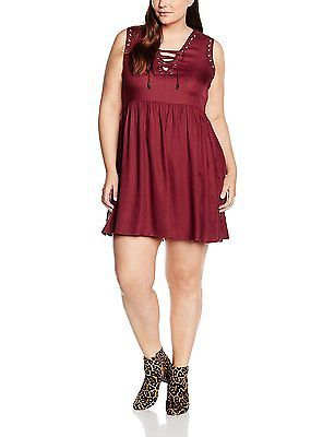 22, Red (Terracotta), Yours Clothing Women's Lace up Skater Dress NEW