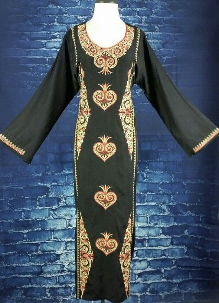 Stunning VINTAGE Embroidered Caftan Bedouin Gypsy Maxi Dress #Caftan