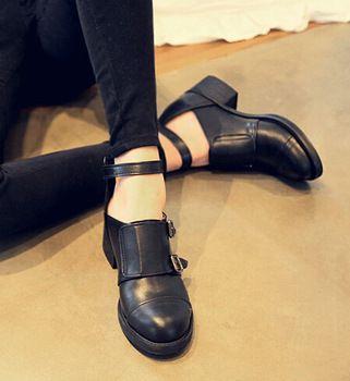 2014 Yeni Kalın Topuklu Kadınlar Oxford Ayakkabı, Hollow Kemer Toka Askı Med Topuk Kadın Ayakkabı Ayak bileği Boots
