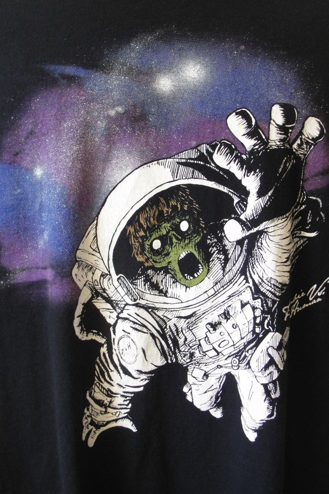 Zombies vs. Humans Dead Astronaut T-Shirt Black 2XL Scary ...