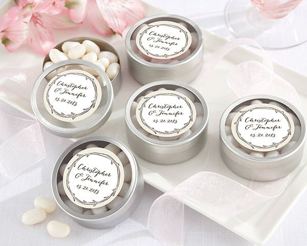 (Set of 12) Personalized Silver Round Candy Tin – The Hunt Is Over | http://www.weddingfavoursaustralia.com.au/products/set-of-12-personalized-silver-round-candy-tin-the-hunt-is-over