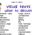 Terminology useful for teaching visual texts. A list of words to be used as a springboard. Thumbnail is a partial view of list....