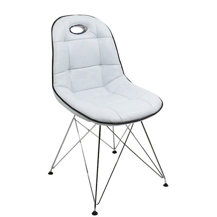 Designer Stuhl Anja 2 Stück Kunstleder Weiß - Stühle online günstig kaufen