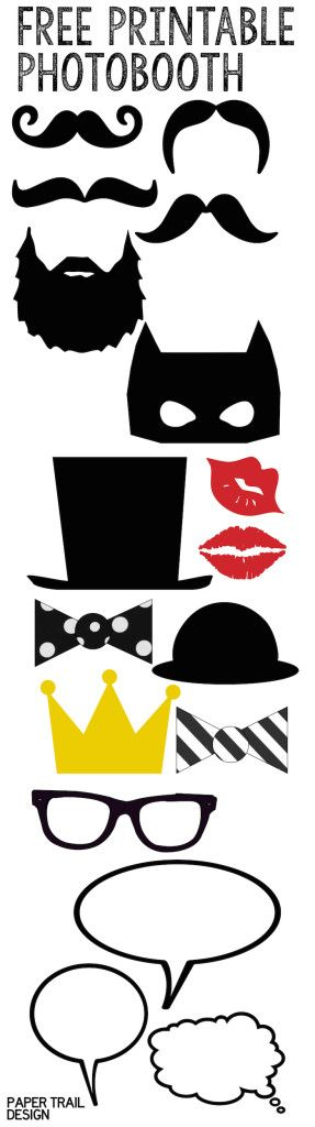 Free Printable Photobooth complete with mustache, lips, top hats, bow ties, beard, crown, glasses and word bubbles.