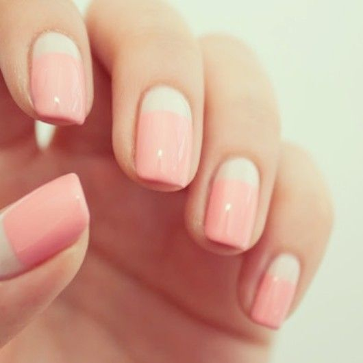 Pink Manicure With White Straight Half Moon Nail Bed Easynailart Pinknails Whitenails Nails Pinterest Art And Designs