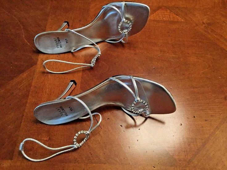 Stuart Weitzman Silver Ice Rink Crystal Strappy High Heel Sandal Shoe Sz 9.5 #StuartWeitzman #Strappy #PartyFormal