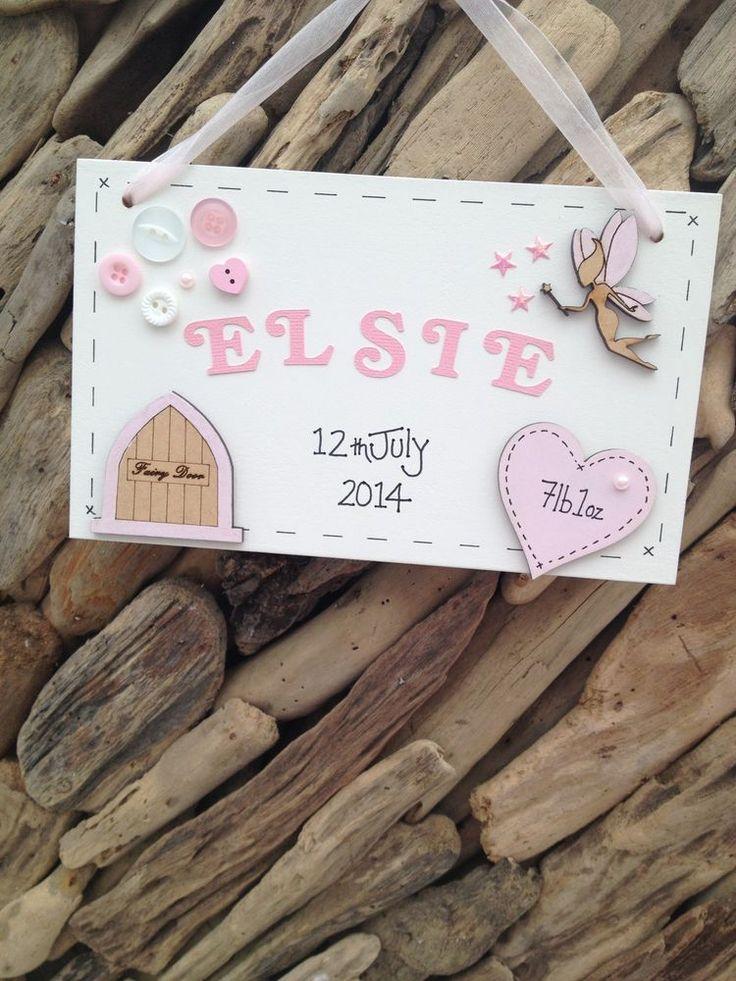 Baby Girl Personalised Plaque Newborn Christening Gift Name Weight Date Handmade