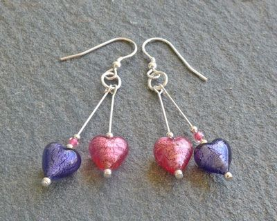Murano glass double drop Heart earrings - Pink and Purple but also available in Red, Crystal or Turquoise