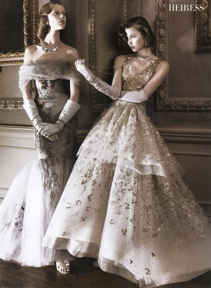 Photographed by David Sims for Vogue.   Dresses by Carolina Herrera (left) and Oscar de la Renta