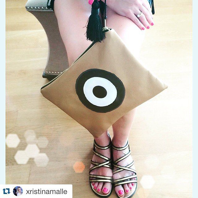 #evileyeproject with our favorite Christina Malle clutch bag!  #ss2015#collection#fashion#evileye#mini#clutch #bag#summer#crafts#handmade#christinamalle_bags#Greece#madeingreece#greekdesigners#accessories#summeringreece#evileyeproject#summeringreece#sales#malle_bags☀️