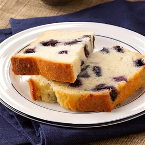 Lemon-Blueberry Tea Bread Recipe -Moist slices of this cake-like bread are bursting with blueberries and lots of lemon flavor. — Wendy Masters, Grand Valley, Ontario