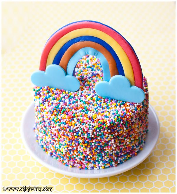 Rainbow and sprinkle cake PLUS a very easy tutorial for making fondant rainbows!