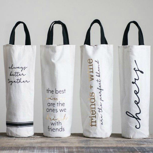 Fabric Wine Bag With Sayings Set Of 4 Fabric Wine Bags Canvas Wine Bag Wine Gifts