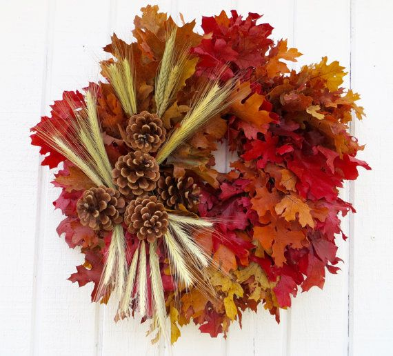This 18 inch fall wreath is made from California dried oak leaves, bearded wheat, and cones.  This wreath needs protection from moisture.  Since my items are perishable they are not returnable.  Thank you for visiting my shop.