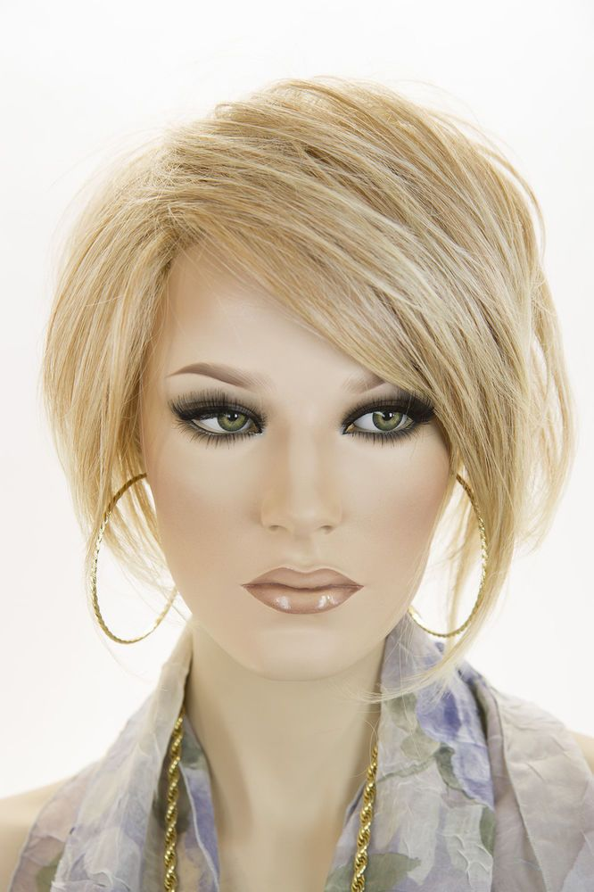 Strawberry Tipped Pale Blonde Blonde Short Lace Front Jon Renau Straight Wigs #FullWig