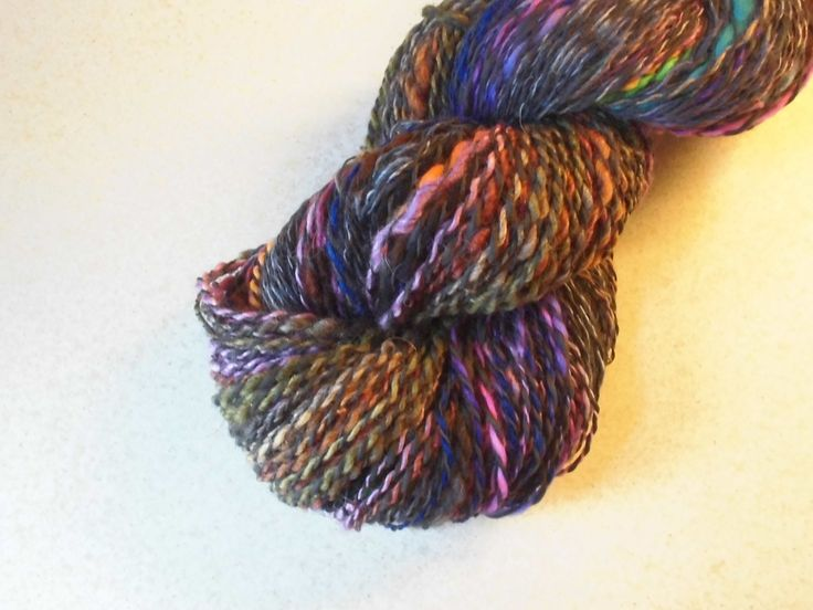 Handspun, Hand Dyed, DK 2-ply Self Rainbow Supersoft Merino and Black Diamond Bambo Yarn. Bamboo Merino Yarn, Multi Colored Wool, EU Seller by SussesSpindehjrne on Etsy