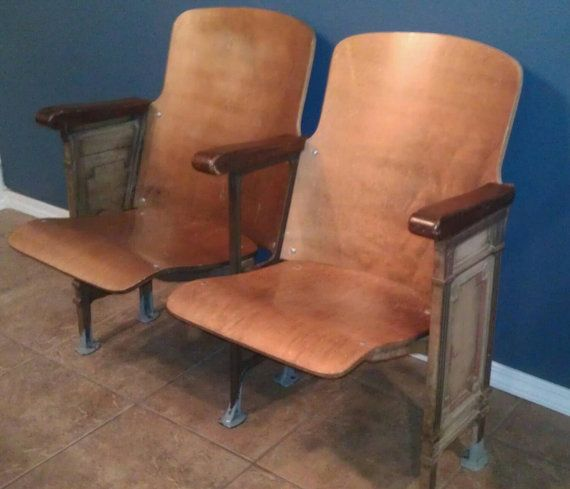 Vintage Two Wooden Movie Theater Theatre Auditorium Seats Chairs 1930s Ornate Hand Painted Cast Iron