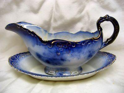 Antique Flow Blue La Belle Gravy Boat & Under Plate 2Pc for sale #cobaltboatsforsale