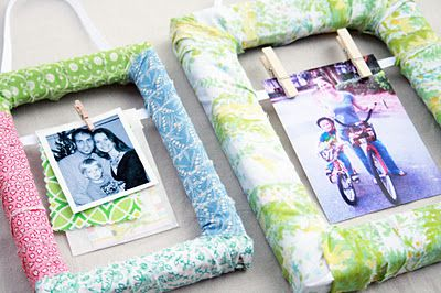 DIY Fabric Scrap Wrapped Frame!  Use old frames, even ones missing glass and backing.  This is easy and and super cute!