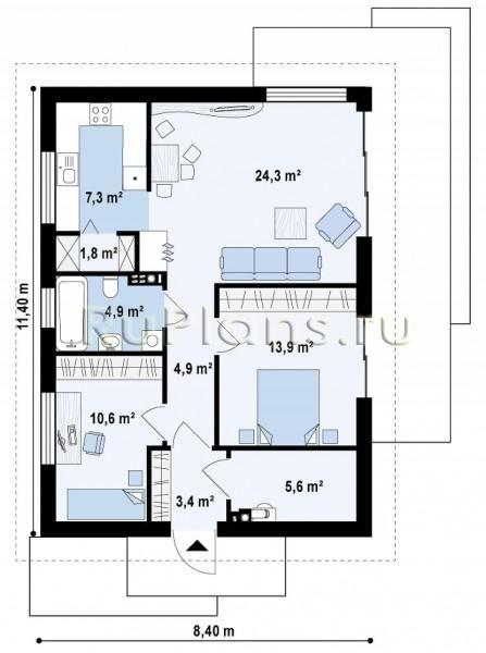 Одноэтажный дом с двумя спальнями и просторной гостиной Rz1293 (Z254)