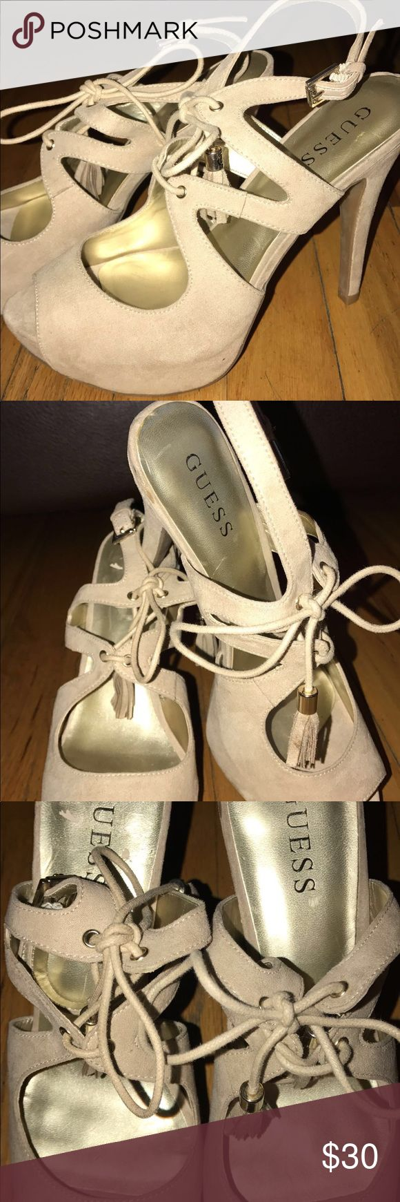 Guess- suede beige color heels High heels💛👡 G by Guess Shoes Heels