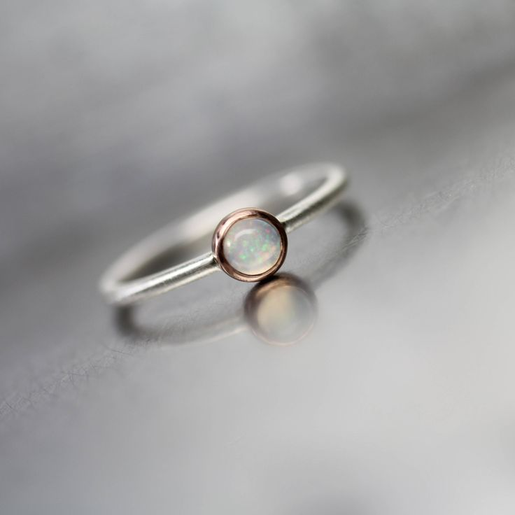 Tiny White Opal 14K Rose Gold Silver Ring Stackable Band Cute Color Speckles October Gemstone Round Cabochon Delicate Boho Gift - Lil Flash by NangijalaJewelry on Etsy