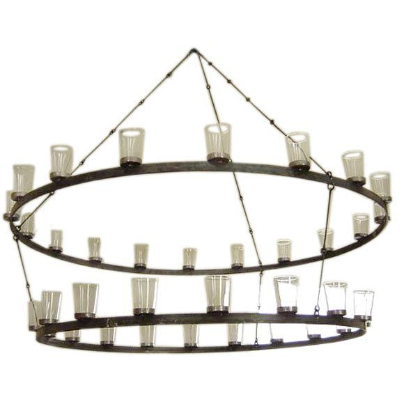 1stdibs | Metal Chandelier with Glass Votives