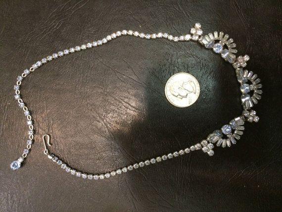 Vintage blue crystal unsigned  necklace '1950 by LaGarettedAnna