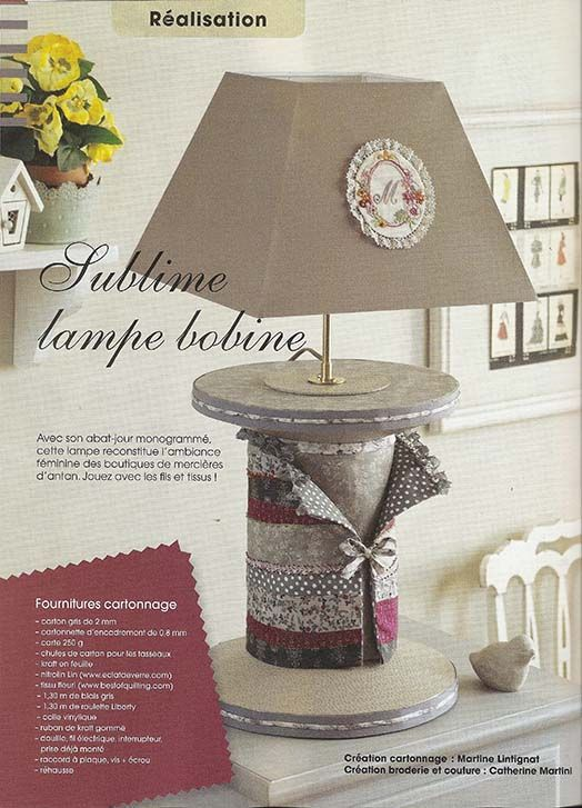tuto lampe bobine; diy lampe bobine réalisé en cartonnage, patchwork et broderie par Catherine Martini et Martine lintignat