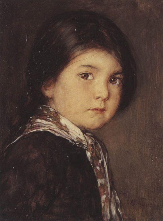 .:. Γύζης Νικόλαος – Gyzis Nikolaos [1842-1901] Κοριτσάκι με μαντήλι στο λαιμό